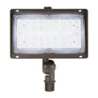 Mini Outdoor Flood Light with LED light bulbs, black accents, and used for security purposes